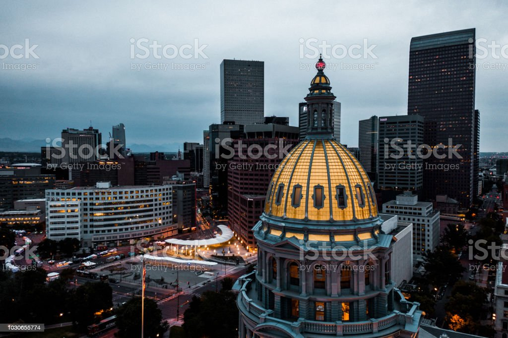Drone photo - Golden dome, Capital building of Colorado stock photo