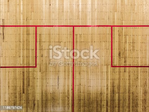 A drone shot of a squash court from above