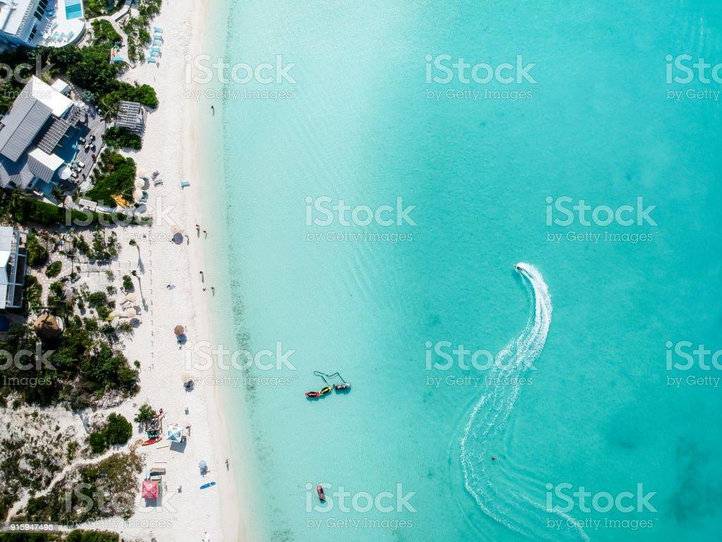 Drone photo of  beach in Sapodilla Bay, Providenciales, Turks and Caicos stock photo