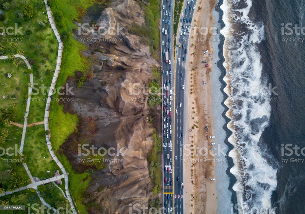Drone photo of Costa Verde highway near beach in Lima stock photo