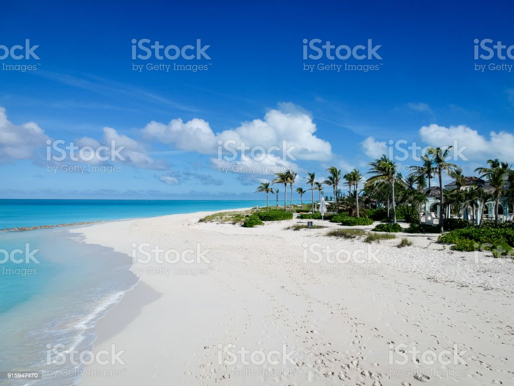 Drone photo of pier in Grace Bay, Providenciales, Turks and Caicos stock photo