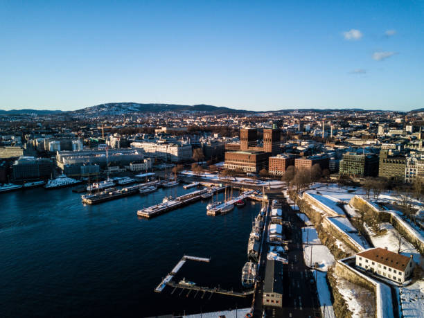 Drone photo of the city of Oslo, Norway stock photo