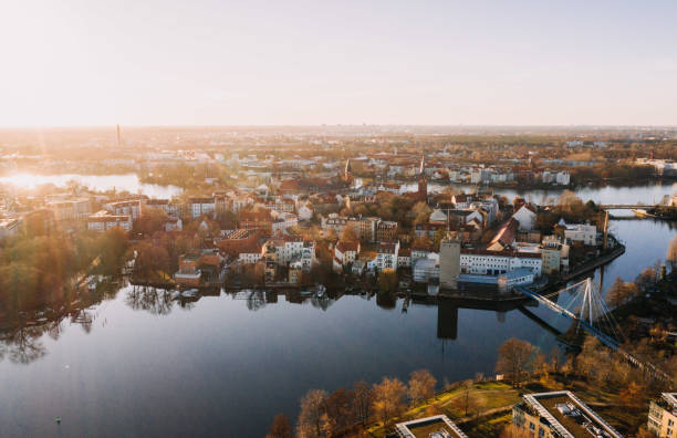 drone photo of the old city Kopenick Berlin at sunrise stock photo