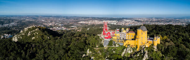 Drone photo - Sintra National Palace castle.  Sintra, Portugal stock photo