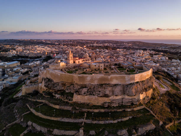 Drone photo - Sunset over the Gozo Citadel, Malta stock photo