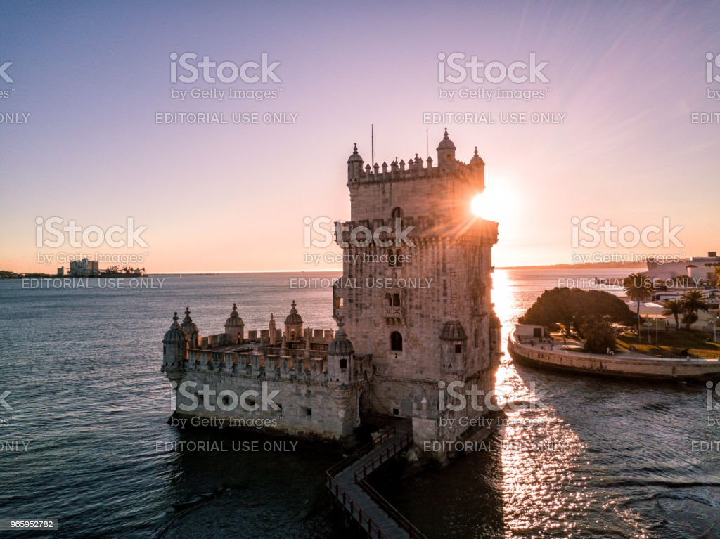 Drone photo - The Belem Tower at sunset, Lisbon Portugal - Royalty-free Aerial View Stock Photo