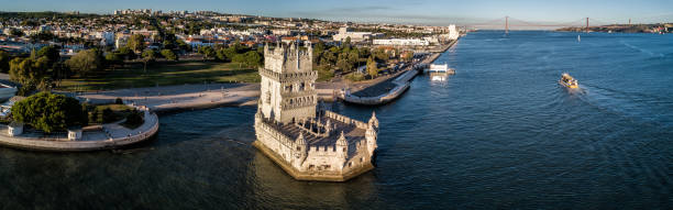 Drone photo - The Belem Tower at sunset, Lisbon Portugal stock photo