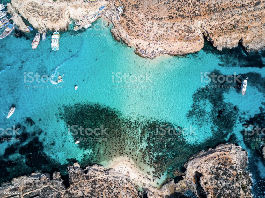 Drone photo - The famous Blue Lagoon.  Camino island, Malta stock photo