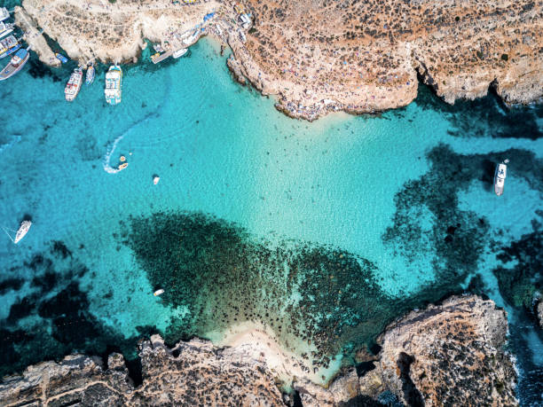 Drone photo - The famous Blue Lagoon.  Camino island, Malta stock photo