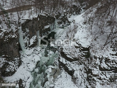 Drone photo. Winter landscape. River flowing in granite canyon.