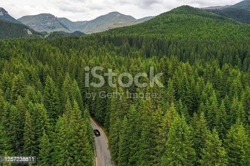 Drone photograph with Trans Bucegi mountain road high up in the Carpathian Mountains.