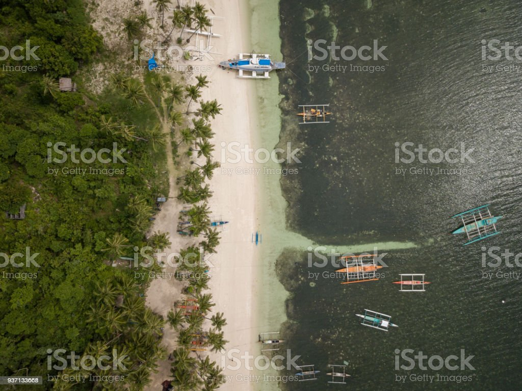 Aerial view of white sand beach Island Philippines, drone point of...