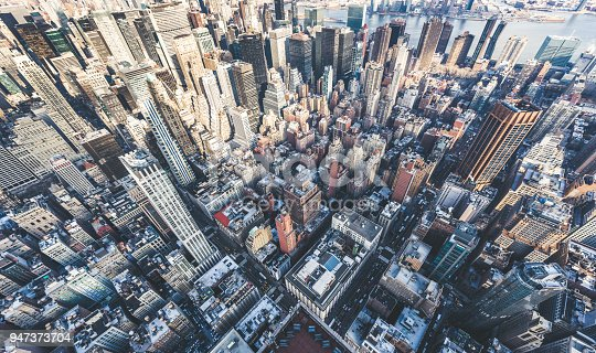 istock Drone Point of View of Manhattan Skyline 947373704
