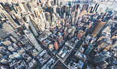 High Angle view of Manhattan Skyline\nMidtown Manhattan Panorama