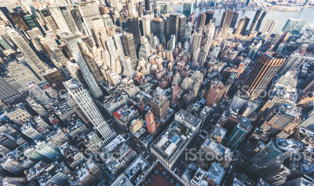 Drone Point of View of Manhattan Skyline stock photo