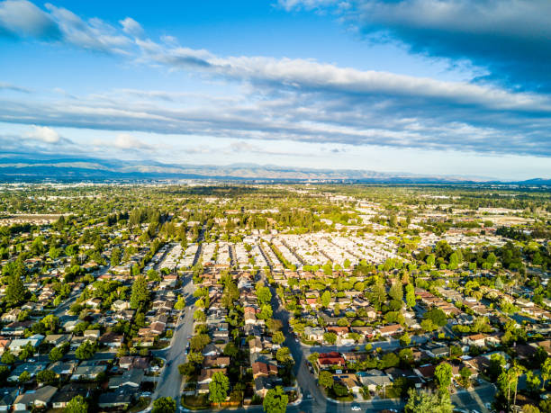 Drone point of view of Silicon Valley in California stock photo