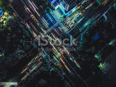 istock Drone Point View of City Street Crossing at Rush Hour, Long Exposure 1170738658