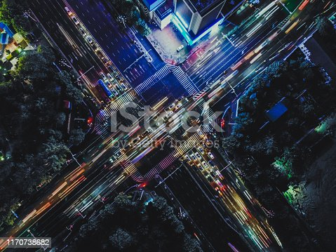 istock Drone Point View of City Street Crossing at Rush Hour, Long Exposure 1170738682