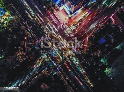 istock Drone Point View of City Street Crossing at Rush Hour, Long Exposure 1170738710