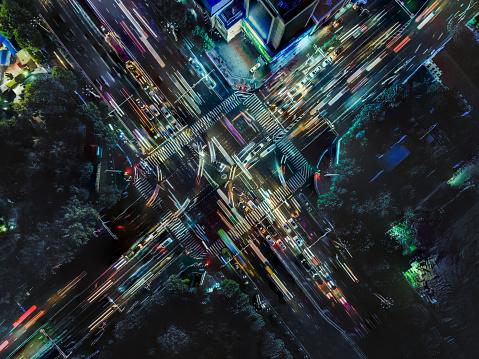 Drone Point View Der City Street Crossing Zur Rush Hour Stockfoto und mehr Bilder von Ansicht von oben