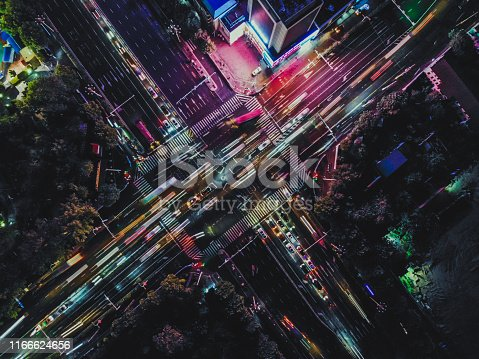 istock Drone Point View of City Street Crossing at Rush Hour 1166624656