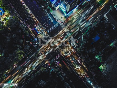 istock Drone Point View of City Street Crossing at Rush Hour 1197122101