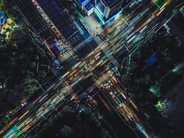 Drone Point View of City Street Crossing at Rush Hour stock photo