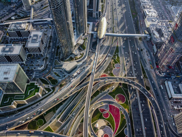 Drone Point View of Road Intersection stock photo