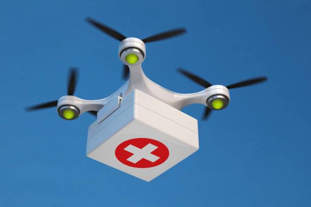 응급 처치 키트를 들고 quadcopter 무인 비행기. - 무인 항공기 뉴스 사진 이미지
