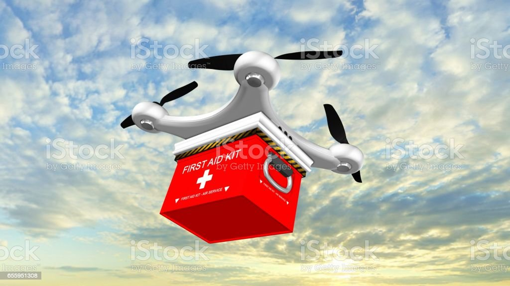 Drone Quadrocopter delivers a FIRST AID KIT  in the sky stock photo
