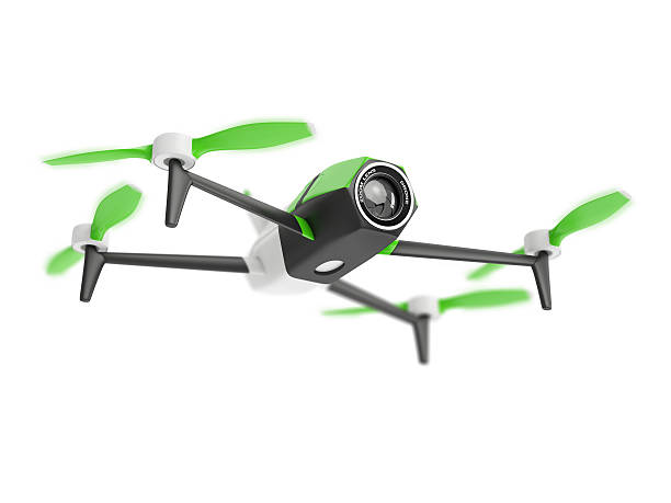 Drone quadrocopter with photo camera on white background – Foto