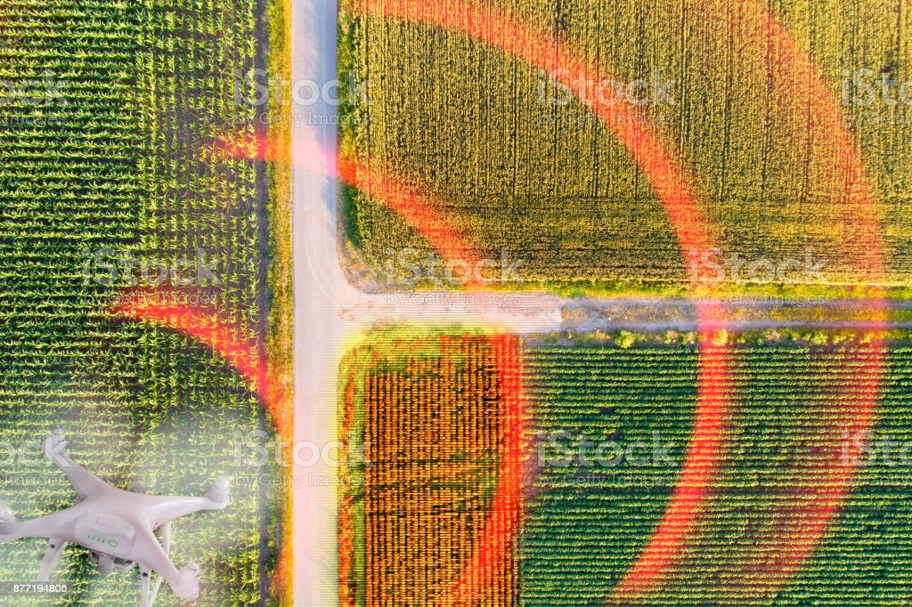 Drone scanning agricultural fields stock photo