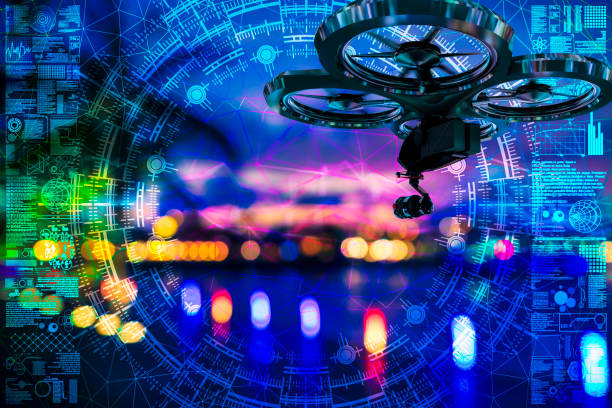 Drohnenschießen im defokussierten Singapur – Foto