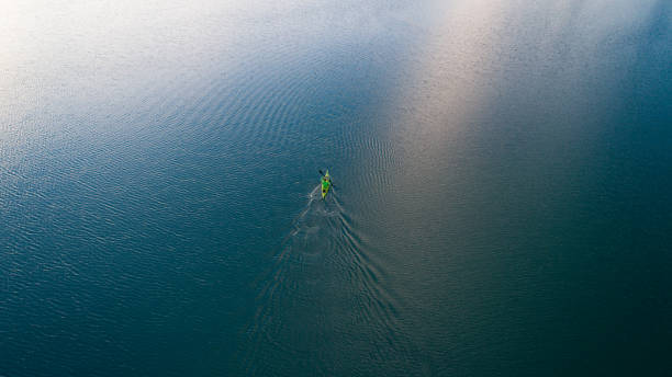 A drone shooting a kayak floating in lake