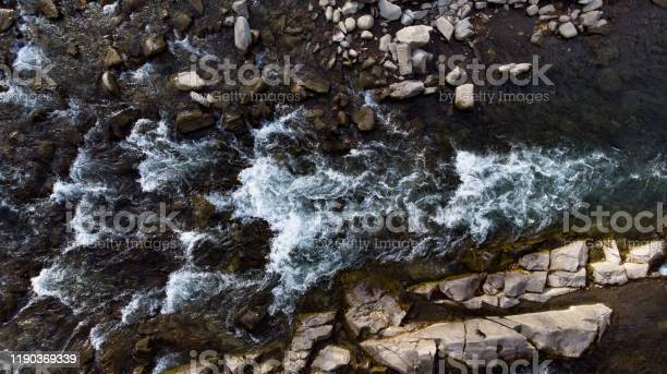 Photo of Drone shooting above the fast flowing water of a mountain river.
