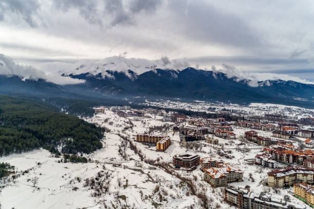 Drone shot aerial view of a beautiful winter landscape in Bansko, Bulgaria stock photo