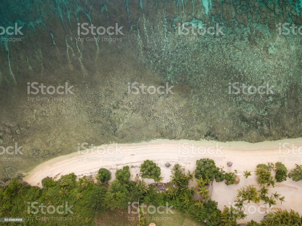 Drone Shot Aerial View Of Tropical Beach Philippines Stock