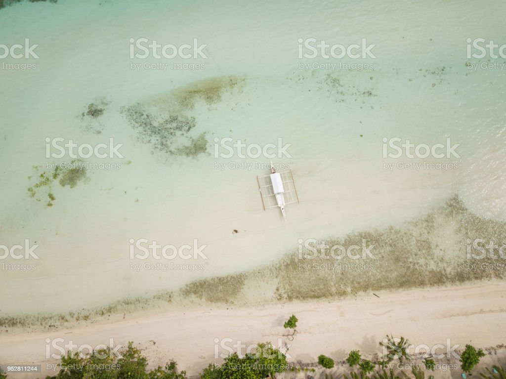 Drone Shot Aerial View Of Tropical Beach Philippines Stock Photo - Download  Image Now