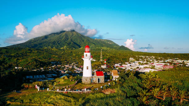 Drone shot of Basco Lighthouse in the province of Batanes, Philippines