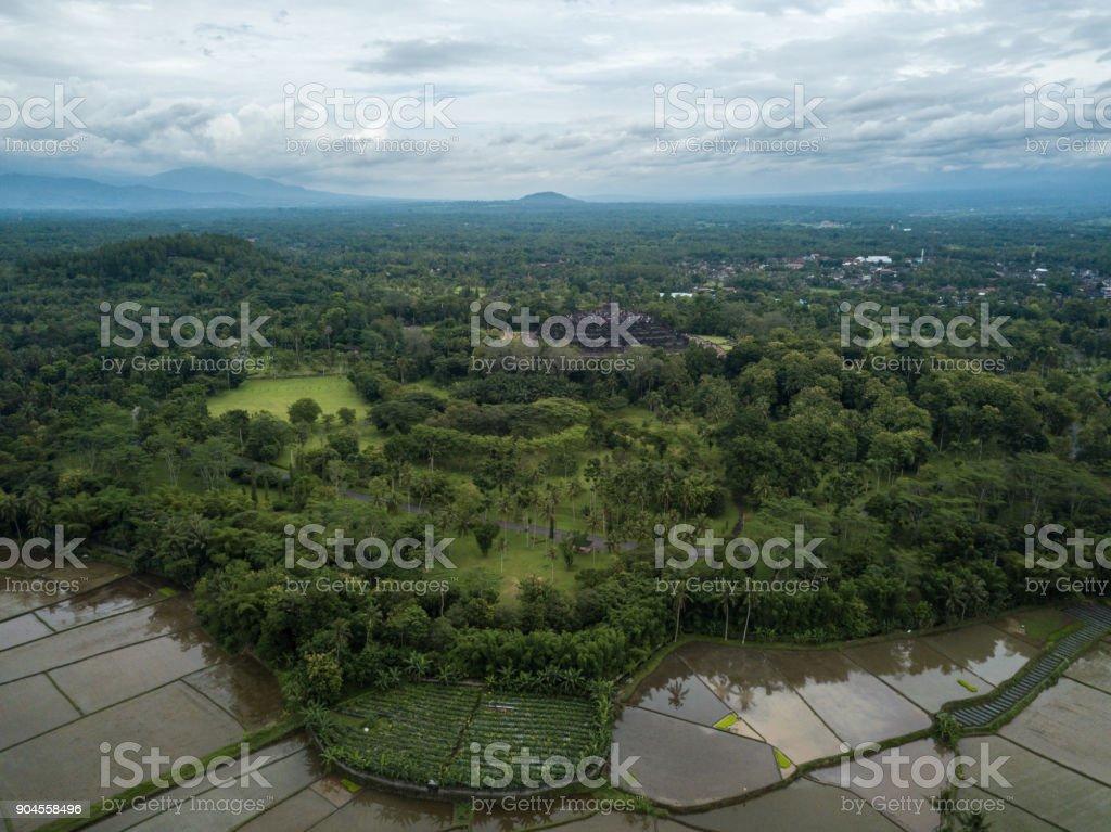 Drone shot of Borobudur temple, Java, Indonesia stock photo