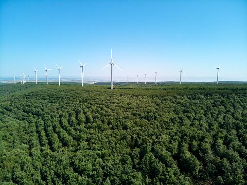 Drone Shot of Eolic Wind Turbines Field In Spain