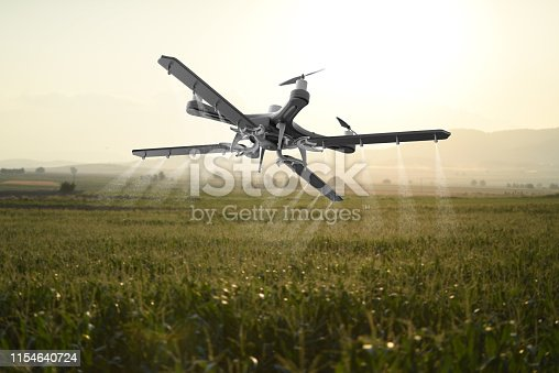 898449496istockphoto Drone spraying a field 1154640724