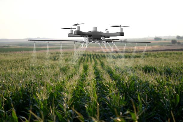 Drohnen sprühen ein Feld – Foto