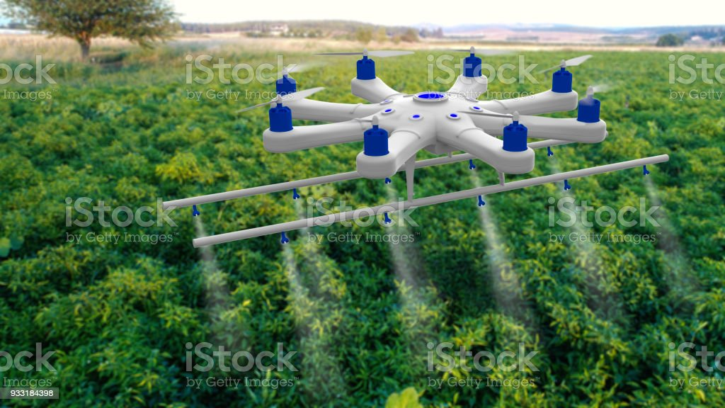 Drone spraying a field stock photo