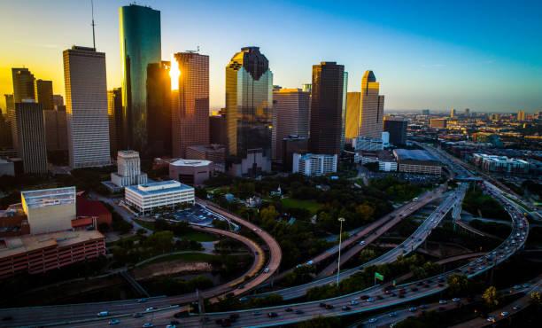 Drone Sunrise Cityscape of Houston Texas major urban city city – Foto