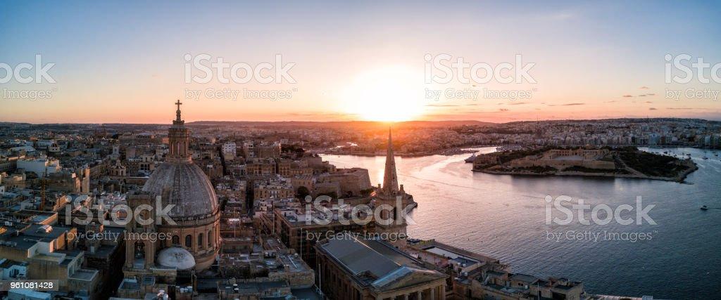 Drone sunset - Lady of Mount Carmel Basilica.  Valletta, Malta stock photo
