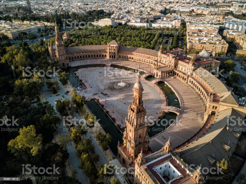 Drone sunset - Plaza de España, Sevilla (Seville), Spain stock photo