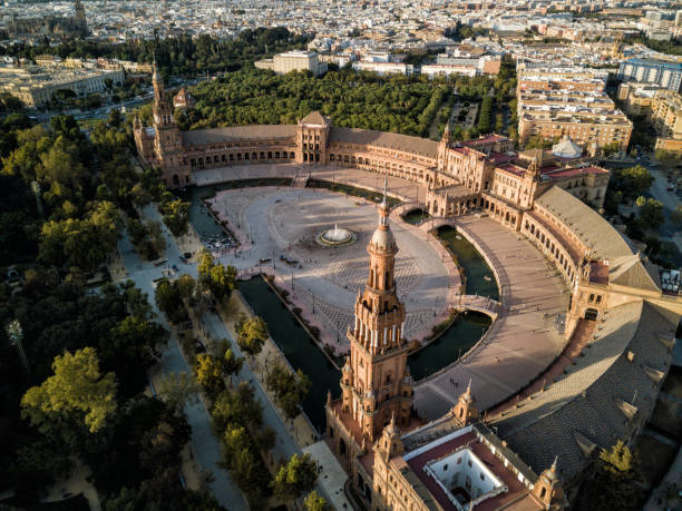 Drone sunset - Plaza de España, Sevilla (Seville), Spain stock photo