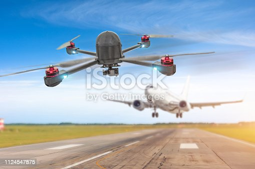 istock Drone Unmanned Aircraft System UAV in the air too close to passenger airplane. Quadcopter in selective focus. Concept flight danger disruption. 1124547875