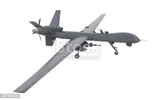 istock Drone - Unmanned military aircraft isolated on white background 971673222
